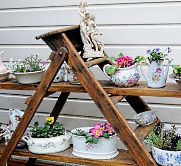 Ladders and other recycled frames and shelves can be used to support recycled pots, and dishes used to growth vegetables